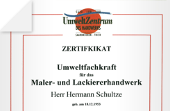 Zertifikat – Umweltfachkraft für das Maler- und Lackiererhandwerk